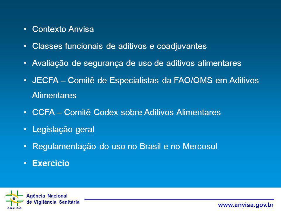 Agência Nacional de Vigilância Sanitária www.anvisa.gov.br Contexto Anvisa Classes funcionais de aditivos e coadjuvantes Avaliação de segurança de uso