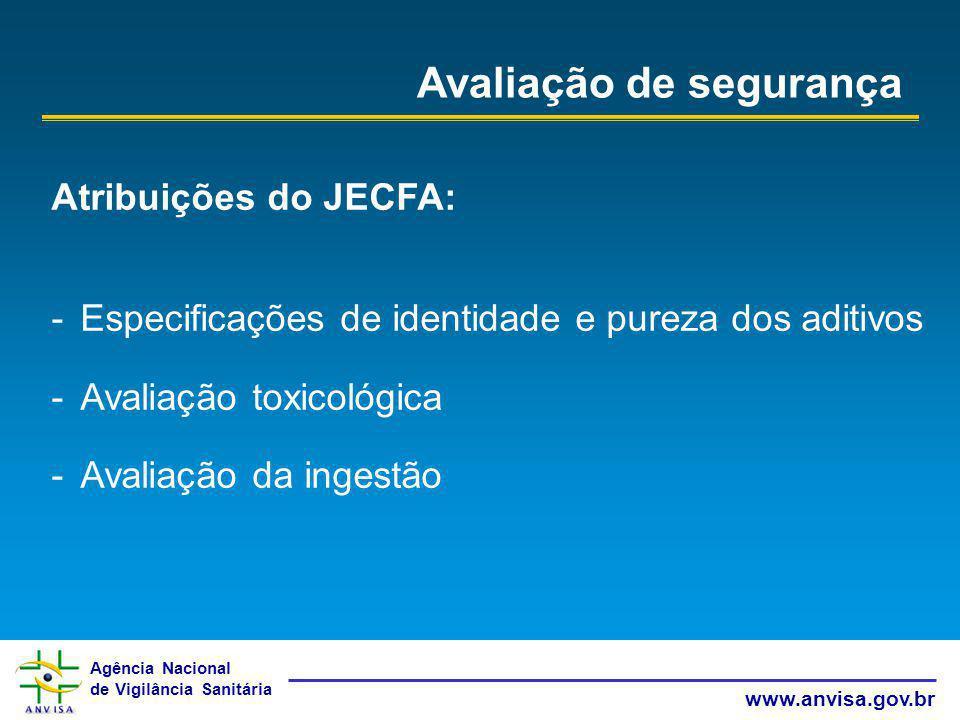 Agência Nacional de Vigilância Sanitária www.anvisa.gov.br Avaliação de segurança Atribuições do JECFA: -Especificações de identidade e pureza dos adi
