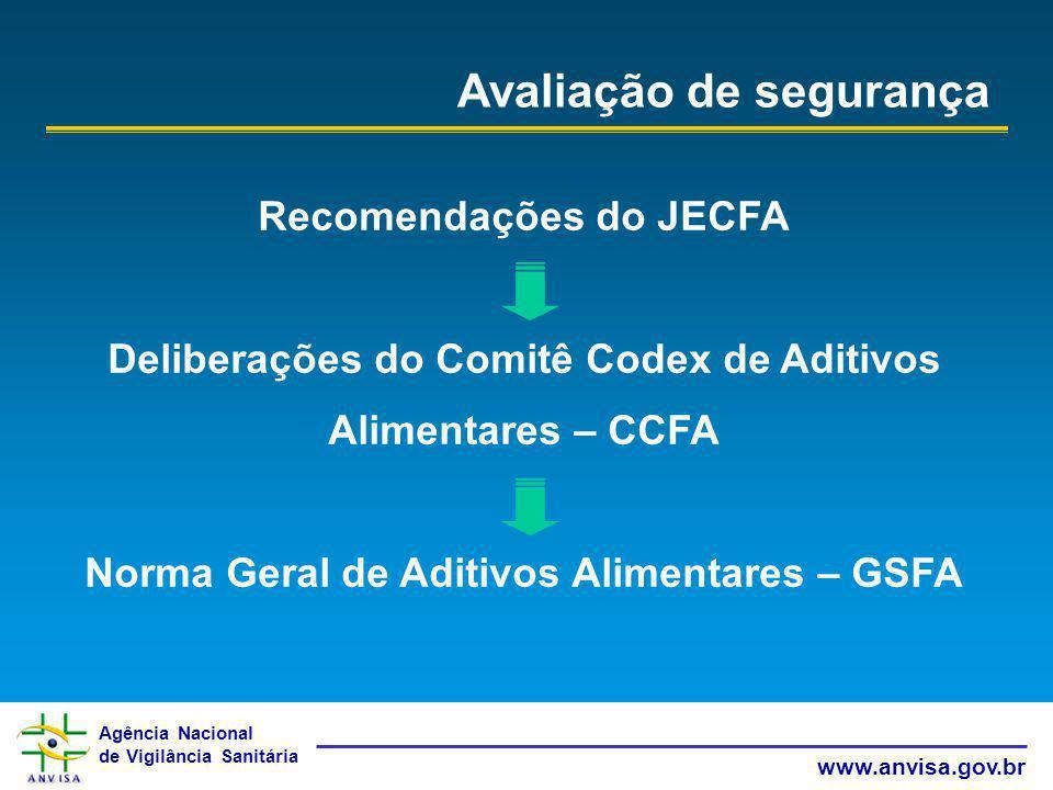 Agência Nacional de Vigilância Sanitária www.anvisa.gov.br Avaliação de segurança Recomendações do JECFA Deliberações do Comitê Codex de Aditivos Alim