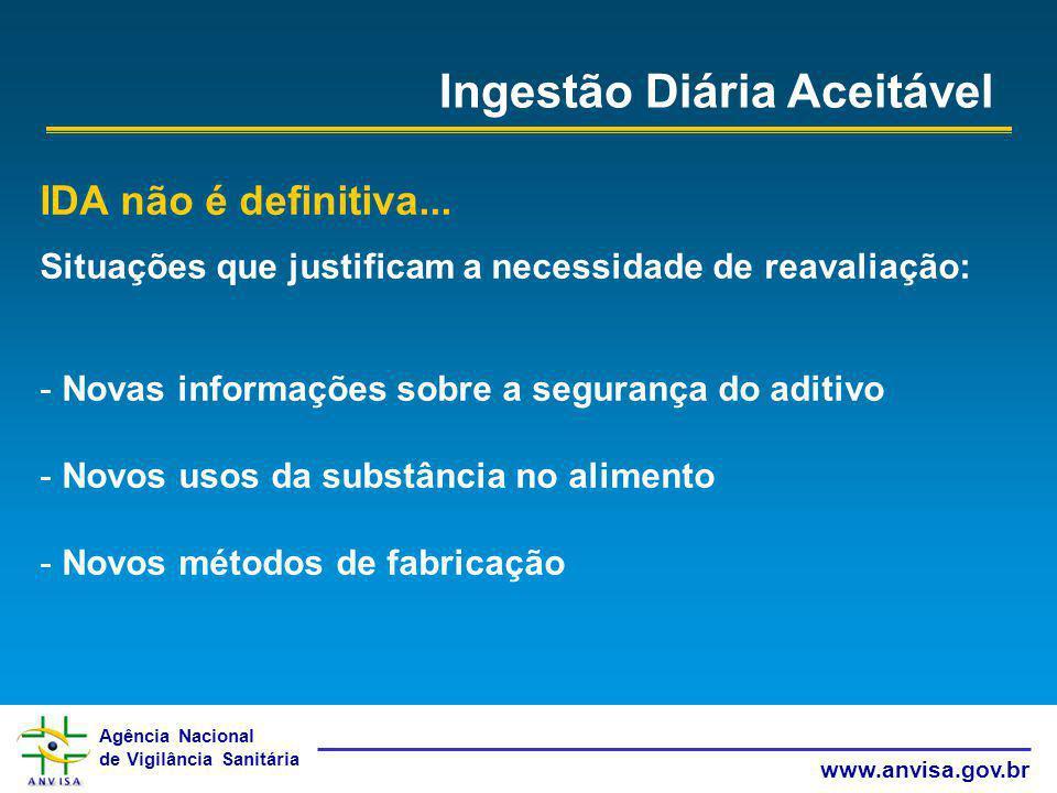 Agência Nacional de Vigilância Sanitária www.anvisa.gov.br Ingestão Diária Aceitável IDA não é definitiva... Situações que justificam a necessidade de