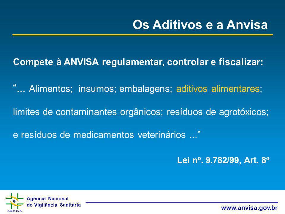 Agência Nacional de Vigilância Sanitária www.anvisa.gov.br Os Aditivos e a Anvisa Compete à ANVISA regulamentar, controlar e fiscalizar:... Alimentos;