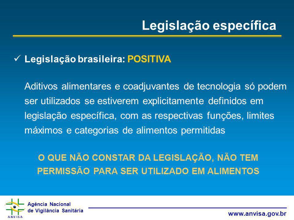 Agência Nacional de Vigilância Sanitária www.anvisa.gov.br Legislação específica Legislação brasileira: POSITIVA Aditivos alimentares e coadjuvantes d