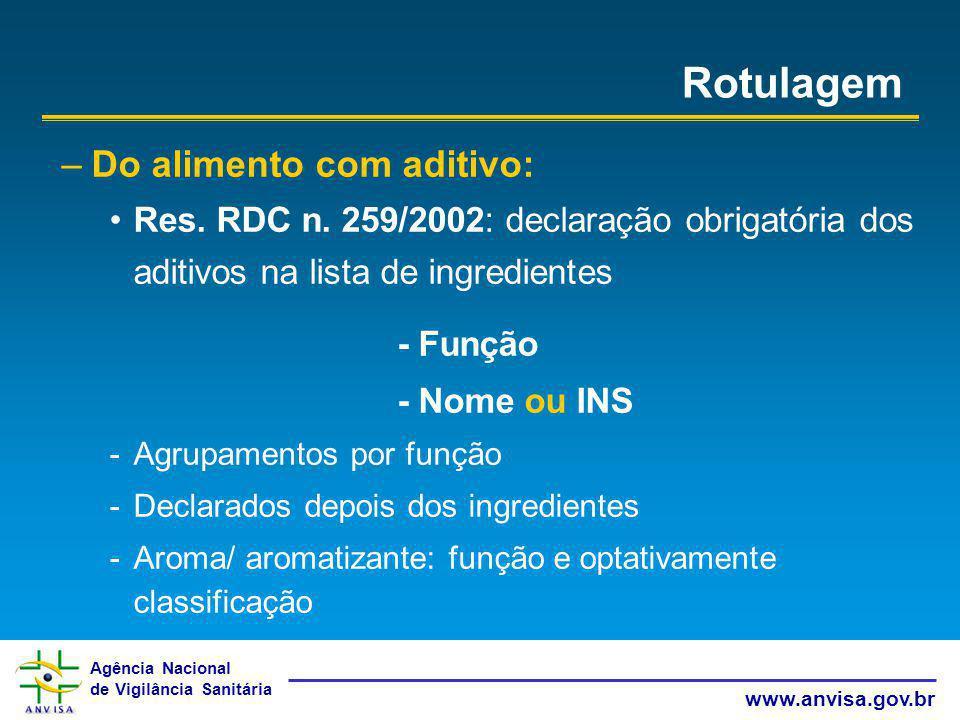 Agência Nacional de Vigilância Sanitária www.anvisa.gov.br Rotulagem –Do alimento com aditivo: Res. RDC n. 259/2002: declaração obrigatória dos aditiv