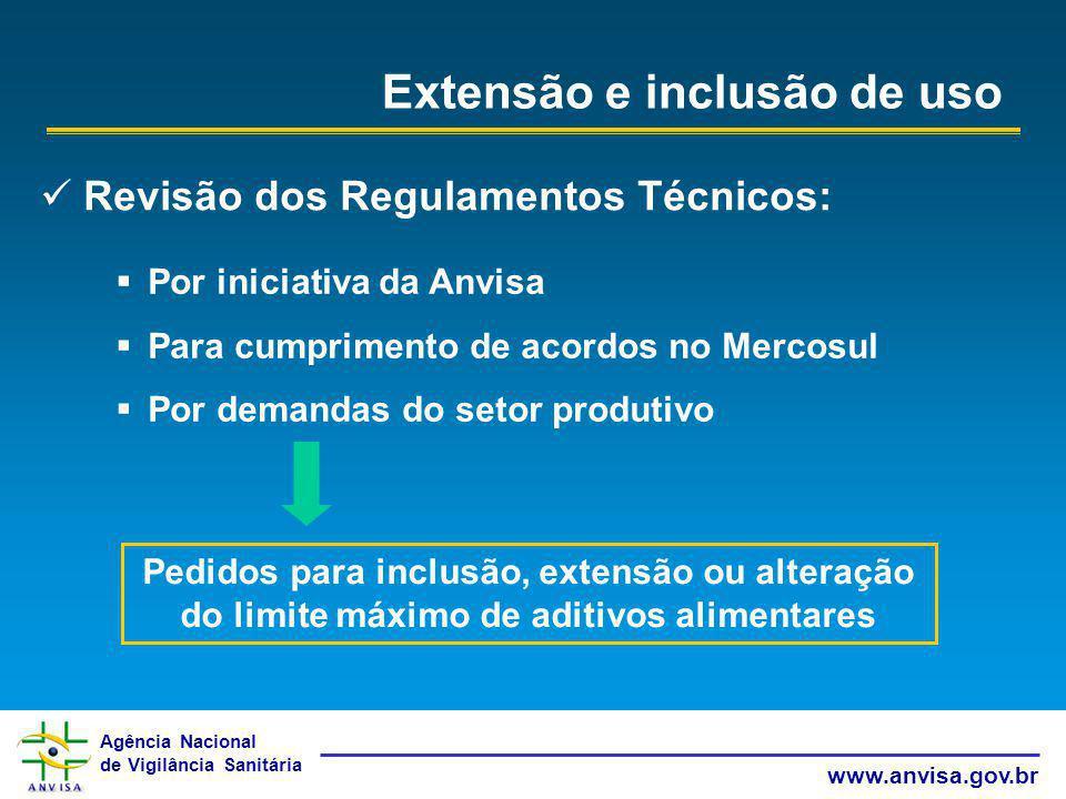 Agência Nacional de Vigilância Sanitária www.anvisa.gov.br Extensão e inclusão de uso Revisão dos Regulamentos Técnicos: Por iniciativa da Anvisa Para