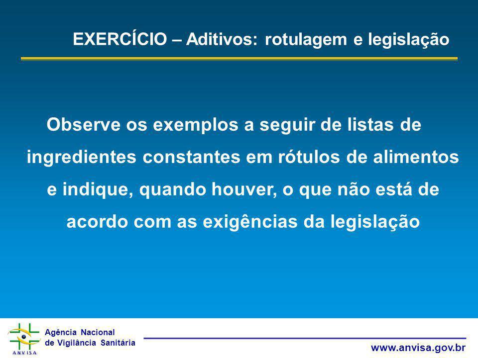 Agência Nacional de Vigilância Sanitária www.anvisa.gov.br EXERCÍCIO – Aditivos: rotulagem e legislação Observe os exemplos a seguir de listas de ingr