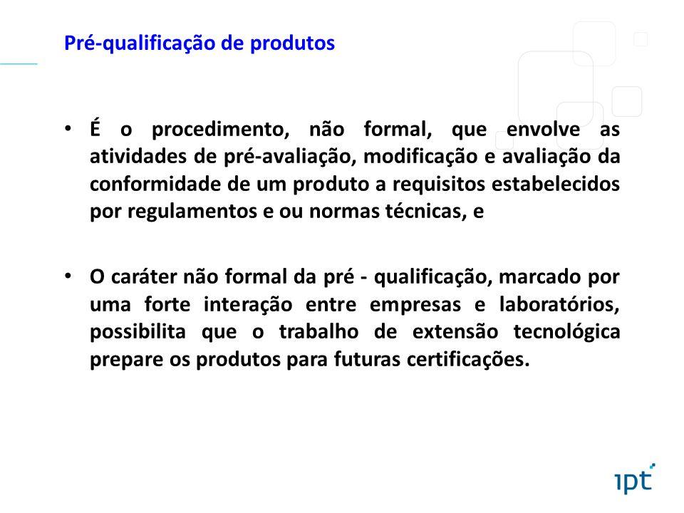 Pré-qualificação de produtos É o procedimento, não formal, que envolve as atividades de pré-avaliação, modificação e avaliação da conformidade de um p