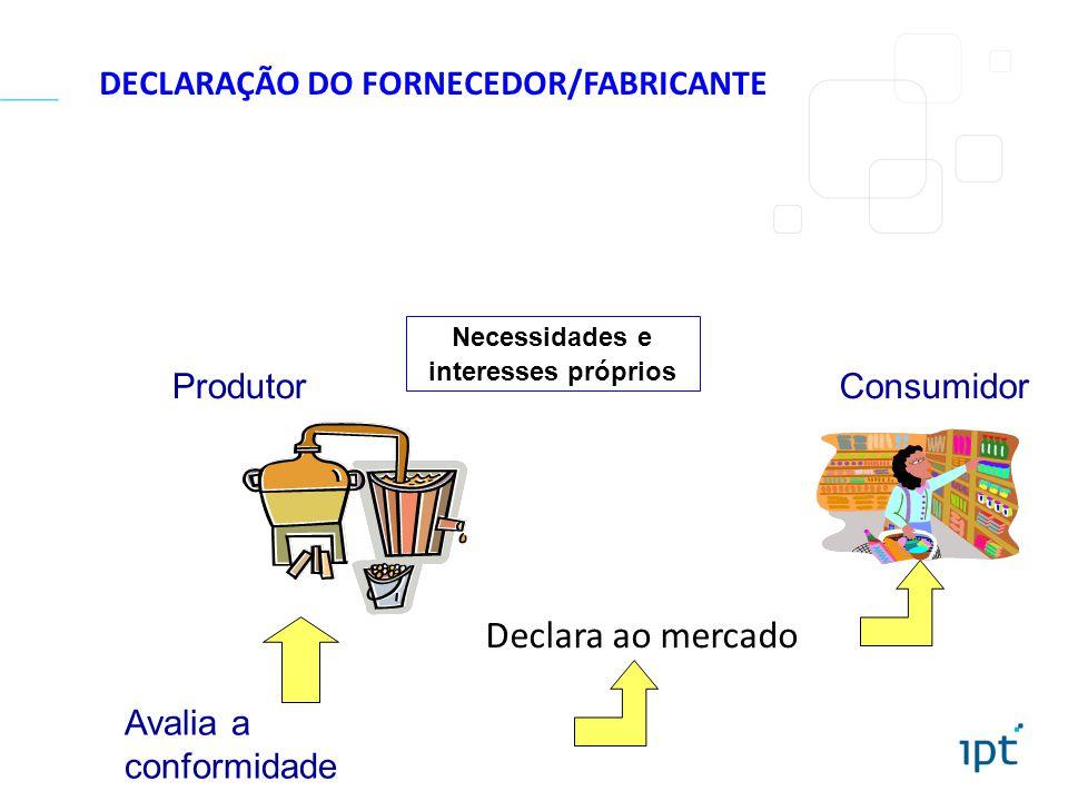 Declara ao mercado Necessidades e interesses próprios ProdutorConsumidor Avalia a conformidade DECLARAÇÃO DO FORNECEDOR/FABRICANTE