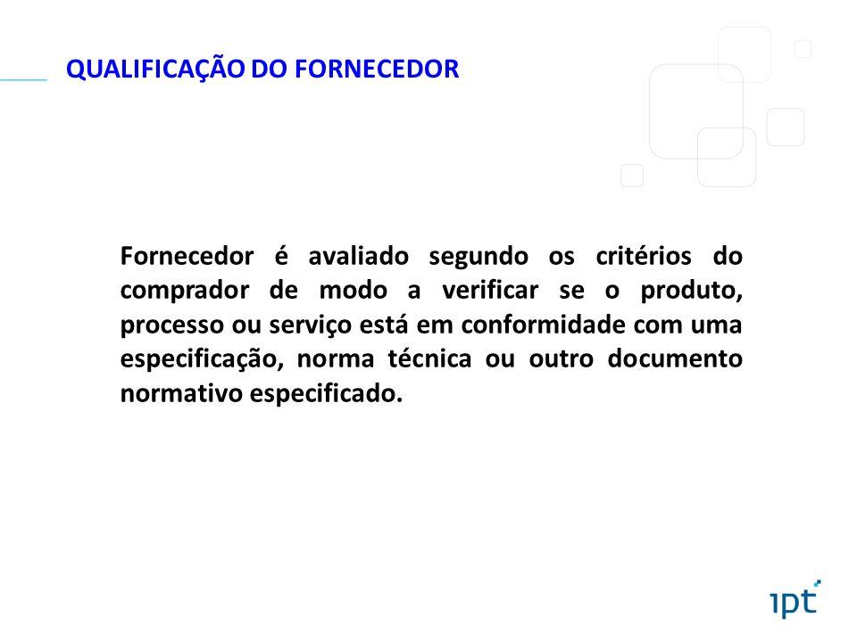 QUALIFICAÇÃO DO FORNECEDOR Fornecedor é avaliado segundo os critérios do comprador de modo a verificar se o produto, processo ou serviço está em confo