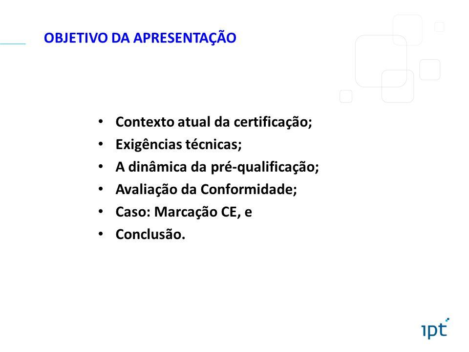OBJETIVO DA APRESENTAÇÃO Contexto atual da certificação; Exigências técnicas; A dinâmica da pré-qualificação; Avaliação da Conformidade; Caso: Marcaçã