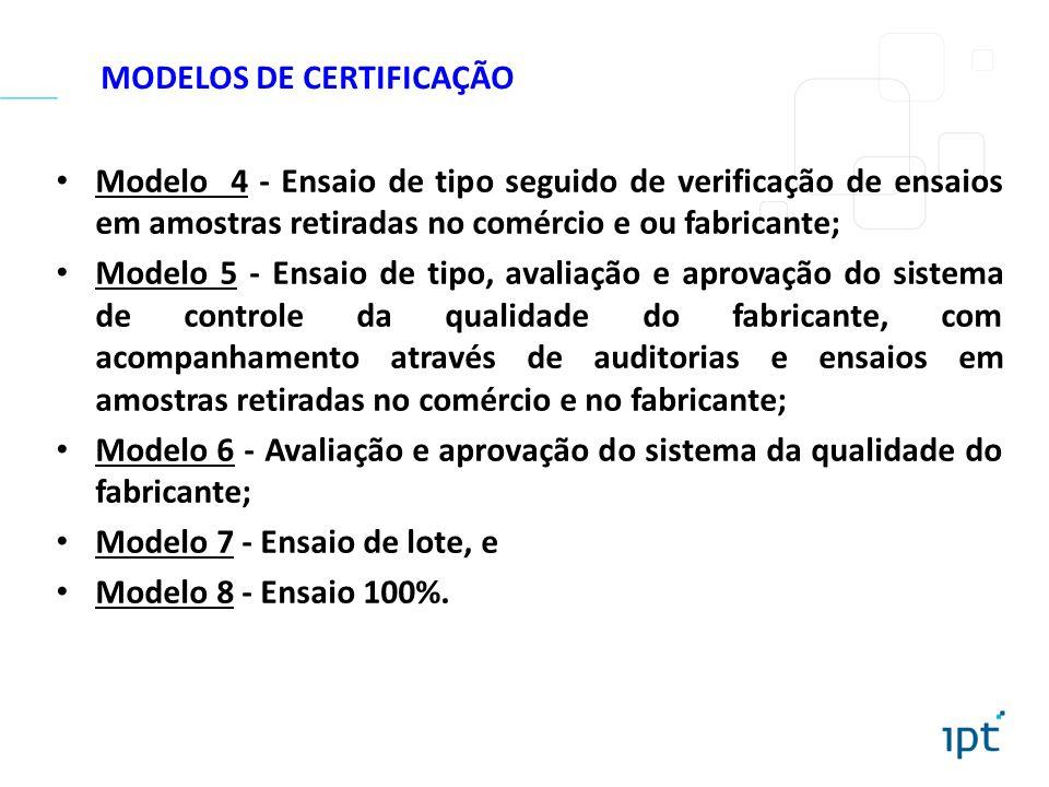 MODELOS DE CERTIFICAÇÃO Modelo 4 - Ensaio de tipo seguido de verificação de ensaios em amostras retiradas no comércio e ou fabricante; Modelo 5 - Ensa
