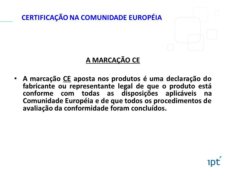 CERTIFICAÇÃO NA COMUNIDADE EUROPÉIA A MARCAÇÃO CE A marcação CE aposta nos produtos é uma declaração do fabricante ou representante legal de que o pro