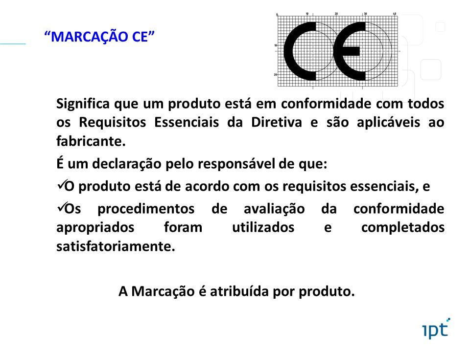 MARCAÇÃO CE Significa que um produto está em conformidade com todos os Requisitos Essenciais da Diretiva e são aplicáveis ao fabricante. É um declaraç