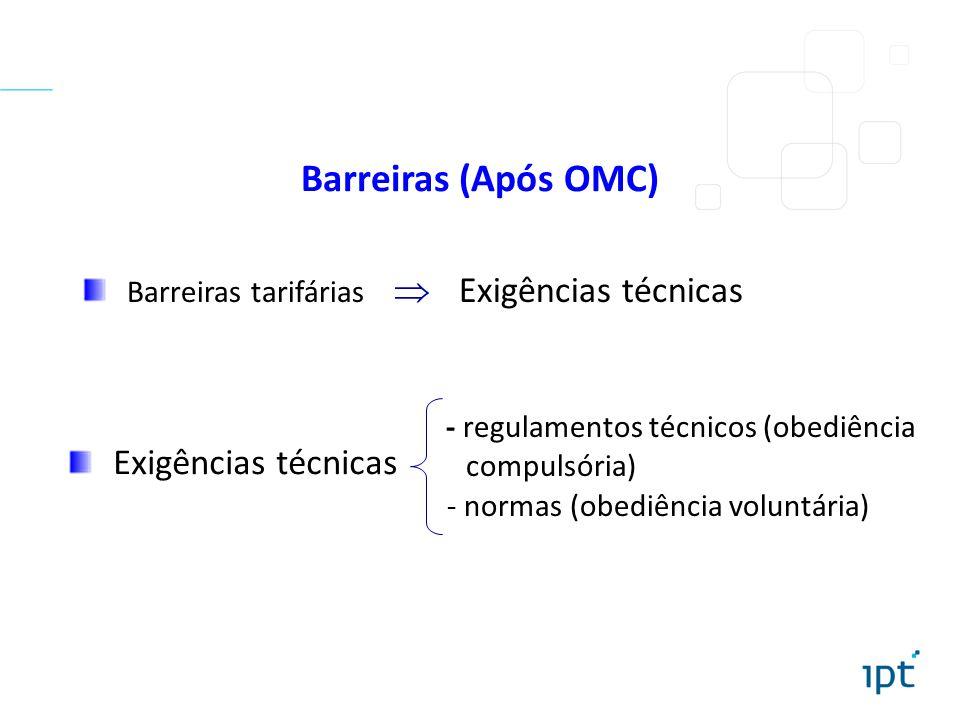 Barreiras (Após OMC) Barreiras tarifárias Exigências técnicas - regulamentos técnicos (obediência compulsória) - normas (obediência voluntária) Exigên