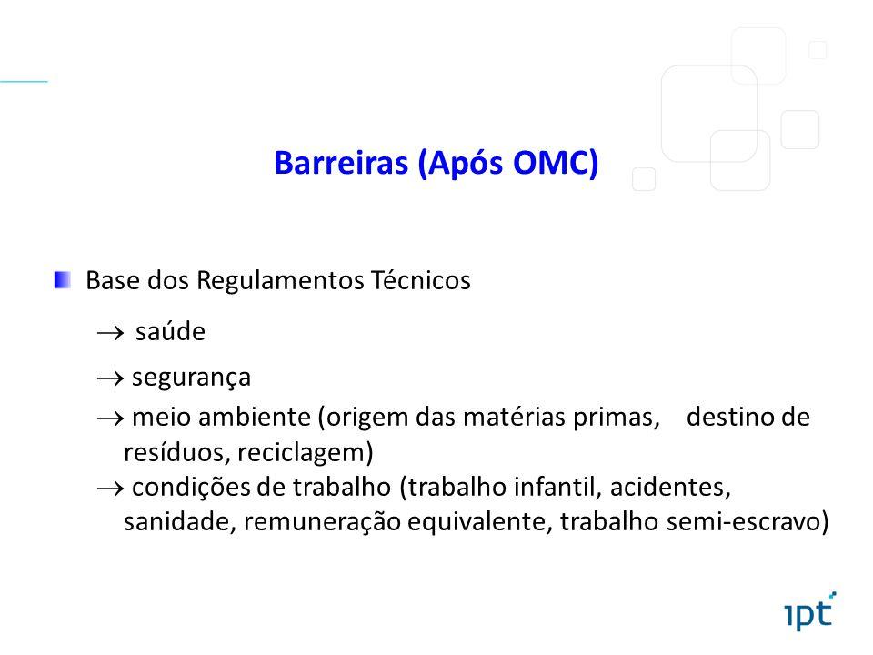 Base dos Regulamentos Técnicos saúde segurança meio ambiente (origem das matérias primas, destino de resíduos, reciclagem) condições de trabalho (trab
