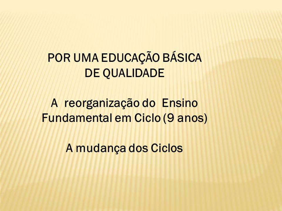 POR UMA EDUCAÇÃO BÁSICA DE QUALIDADE A reorganização do Ensino Fundamental em Ciclo (9 anos) A mudança dos Ciclos