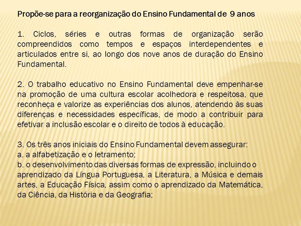 Propõe-se para a reorganização do Ensino Fundamental de 9 anos 1. Ciclos, séries e outras formas de organização serão compreendidos como tempos e espa