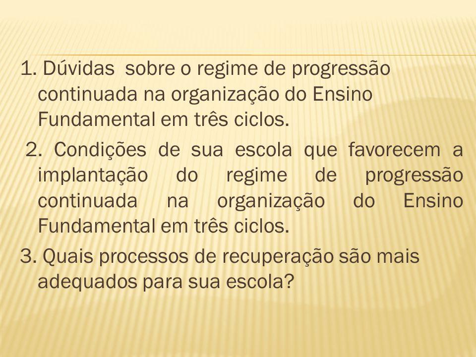 1. Dúvidas sobre o regime de progressão continuada na organização do Ensino Fundamental em três ciclos. 2. Condições de sua escola que favorecem a imp