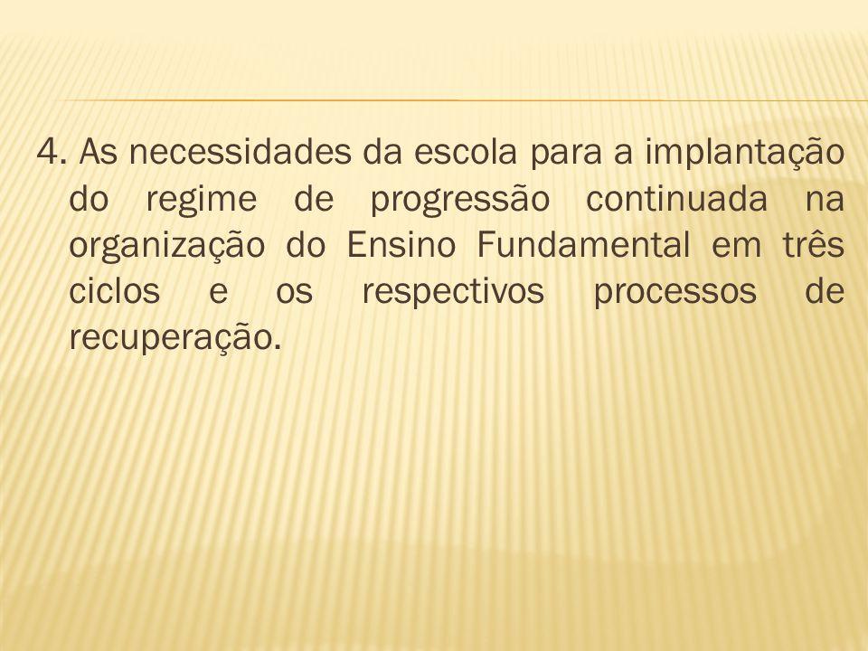 4. As necessidades da escola para a implantação do regime de progressão continuada na organização do Ensino Fundamental em três ciclos e os respectivo