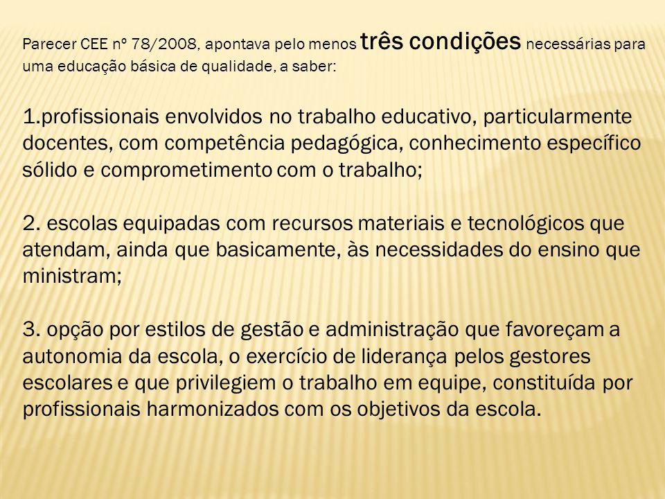 Parecer CEE nº 78/2008, apontava pelo menos três condições necessárias para uma educação básica de qualidade, a saber: 1.profissionais envolvidos no t
