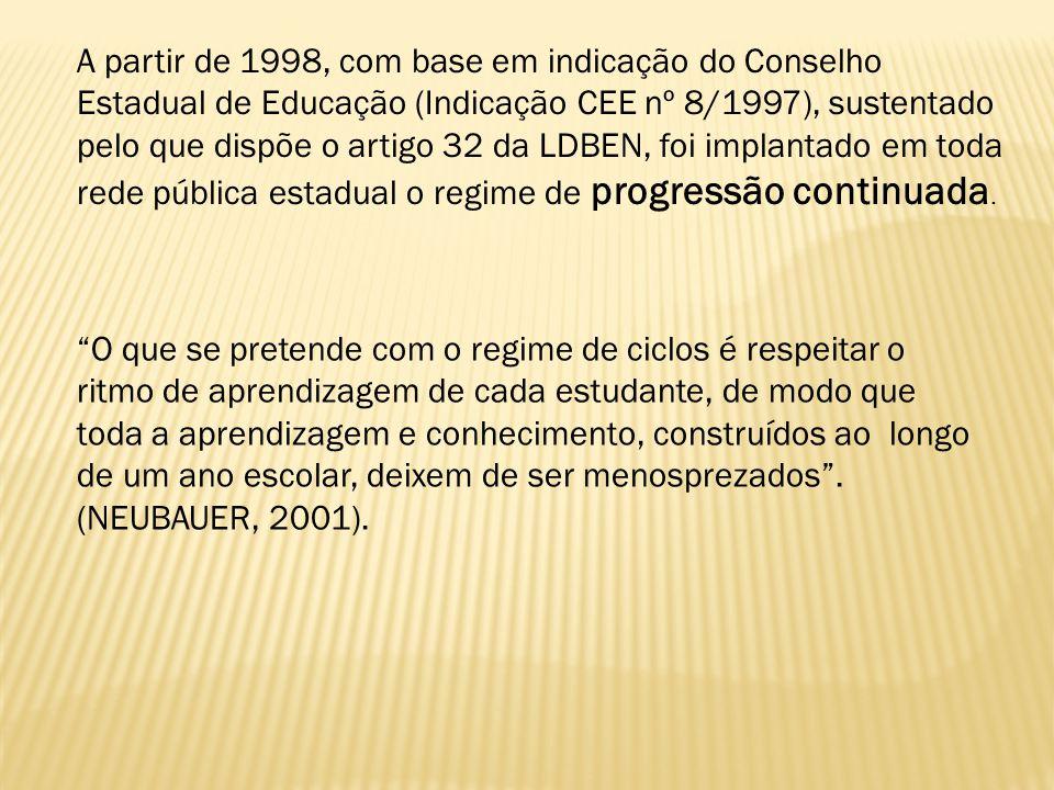 A partir de 1998, com base em indicação do Conselho Estadual de Educação (Indicação CEE nº 8/1997), sustentado pelo que dispõe o artigo 32 da LDBEN, f