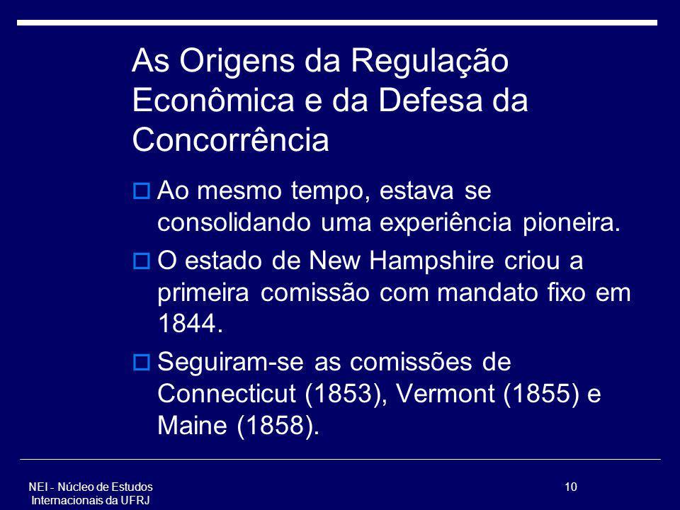 NEI - Núcleo de Estudos Internacionais da UFRJ 10 As Origens da Regulação Econômica e da Defesa da Concorrência Ao mesmo tempo, estava se consolidando
