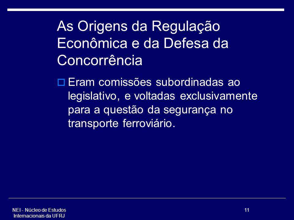NEI - Núcleo de Estudos Internacionais da UFRJ 11 As Origens da Regulação Econômica e da Defesa da Concorrência Eram comissões subordinadas ao legisla