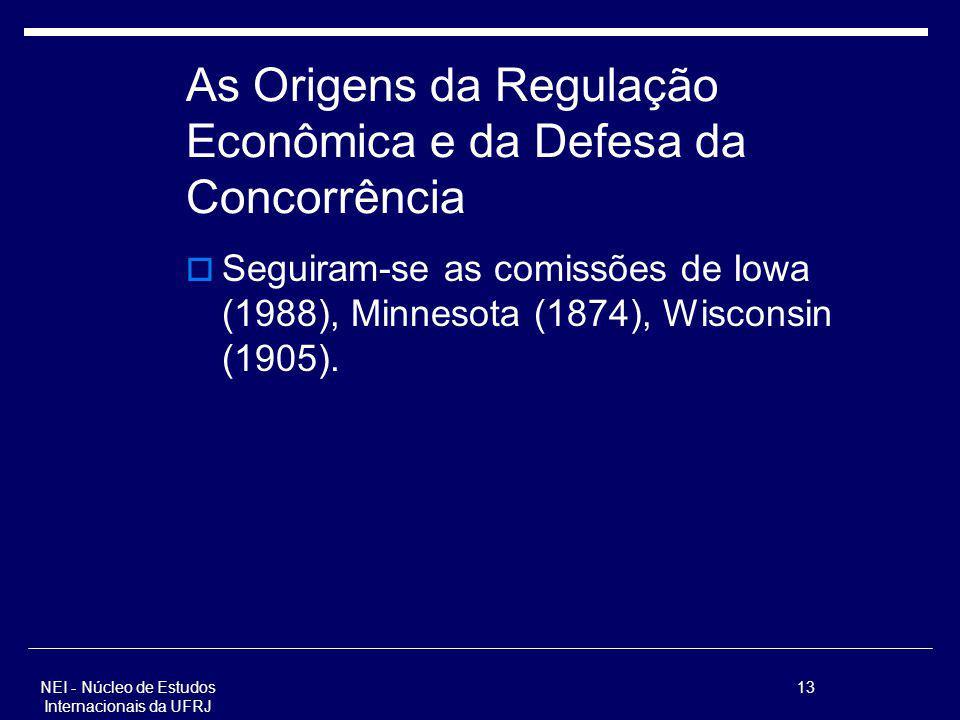 NEI - Núcleo de Estudos Internacionais da UFRJ 13 As Origens da Regulação Econômica e da Defesa da Concorrência Seguiram-se as comissões de Iowa (1988