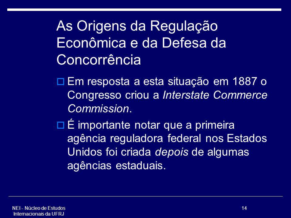 NEI - Núcleo de Estudos Internacionais da UFRJ 14 As Origens da Regulação Econômica e da Defesa da Concorrência Em resposta a esta situação em 1887 o