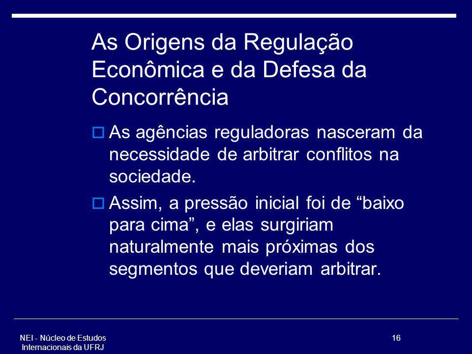NEI - Núcleo de Estudos Internacionais da UFRJ 16 As Origens da Regulação Econômica e da Defesa da Concorrência As agências reguladoras nasceram da ne