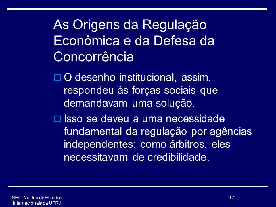 NEI - Núcleo de Estudos Internacionais da UFRJ 17 As Origens da Regulação Econômica e da Defesa da Concorrência O desenho institucional, assim, respon