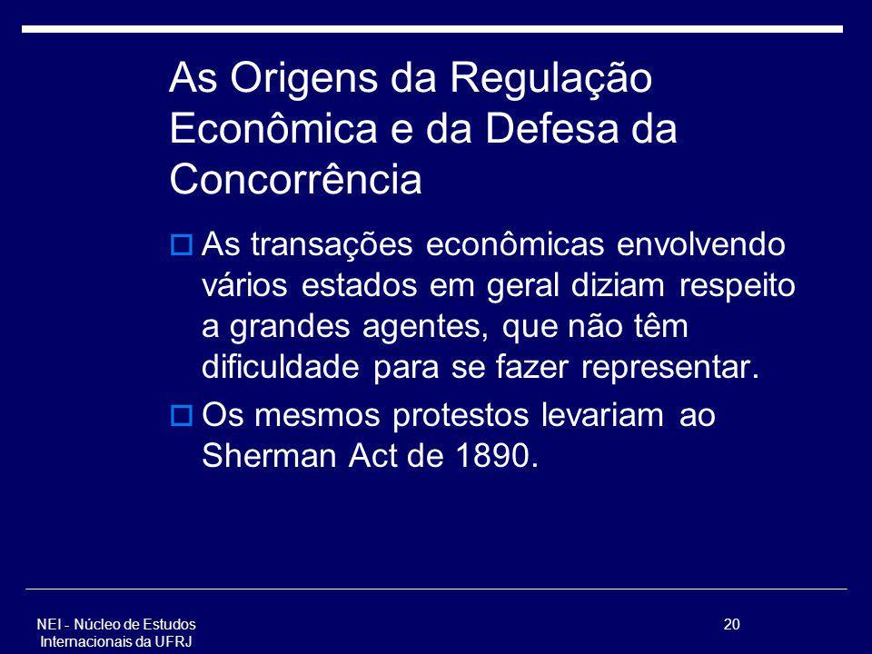 NEI - Núcleo de Estudos Internacionais da UFRJ 20 As Origens da Regulação Econômica e da Defesa da Concorrência As transações econômicas envolvendo vá