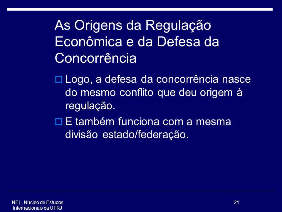 NEI - Núcleo de Estudos Internacionais da UFRJ 21 As Origens da Regulação Econômica e da Defesa da Concorrência Logo, a defesa da concorrência nasce d