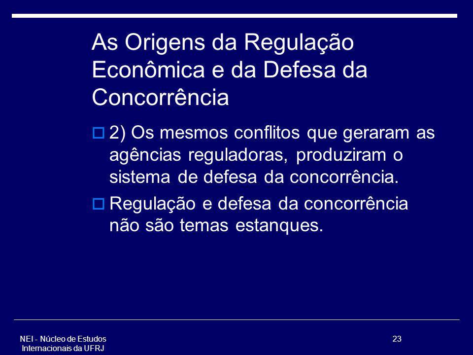 NEI - Núcleo de Estudos Internacionais da UFRJ 23 As Origens da Regulação Econômica e da Defesa da Concorrência 2) Os mesmos conflitos que geraram as