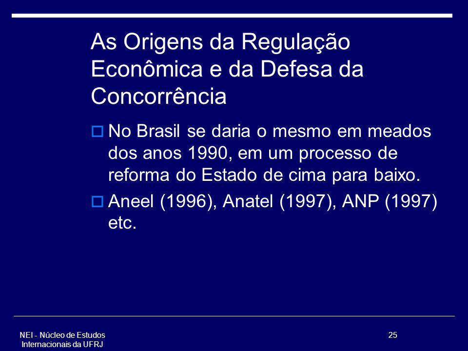 NEI - Núcleo de Estudos Internacionais da UFRJ 25 As Origens da Regulação Econômica e da Defesa da Concorrência No Brasil se daria o mesmo em meados d