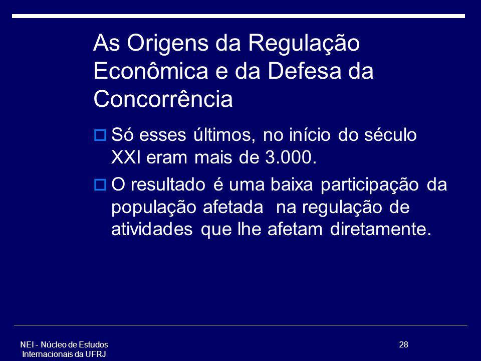 NEI - Núcleo de Estudos Internacionais da UFRJ 28 As Origens da Regulação Econômica e da Defesa da Concorrência Só esses últimos, no início do século