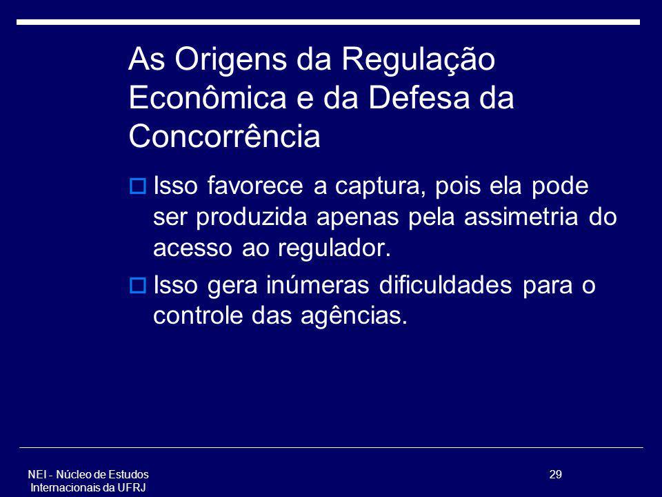 NEI - Núcleo de Estudos Internacionais da UFRJ 29 As Origens da Regulação Econômica e da Defesa da Concorrência Isso favorece a captura, pois ela pode