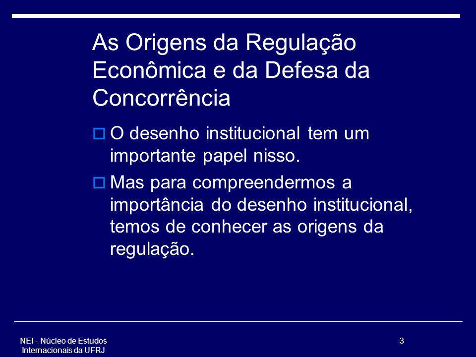 NEI - Núcleo de Estudos Internacionais da UFRJ 3 As Origens da Regulação Econômica e da Defesa da Concorrência O desenho institucional tem um importan