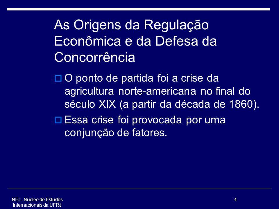NEI - Núcleo de Estudos Internacionais da UFRJ 4 As Origens da Regulação Econômica e da Defesa da Concorrência O ponto de partida foi a crise da agric