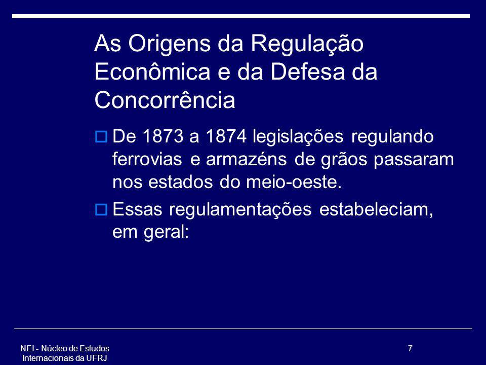 7 As Origens da Regulação Econômica e da Defesa da Concorrência De 1873 a 1874 legislações regulando ferrovias e armazéns de grãos passaram nos estado