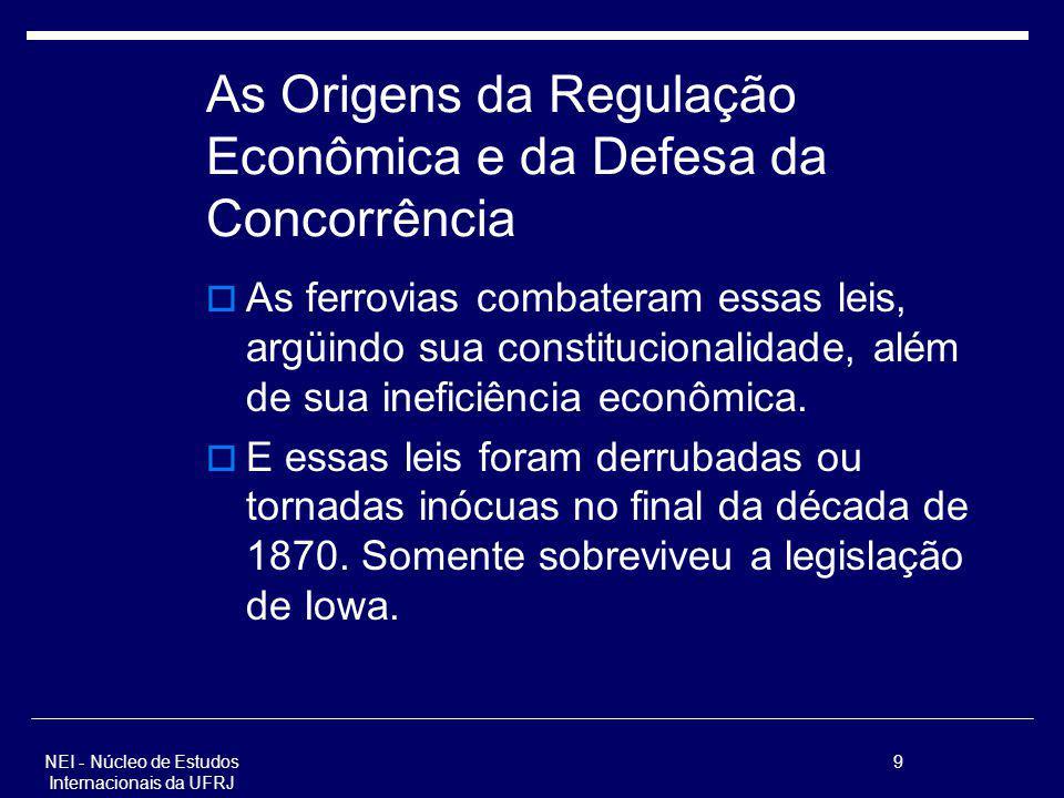 NEI - Núcleo de Estudos Internacionais da UFRJ 9 As Origens da Regulação Econômica e da Defesa da Concorrência As ferrovias combateram essas leis, arg