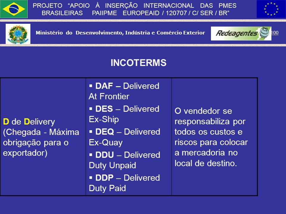 Ministério do Desenvolvimento, Indústria e Comércio Exterior 99 PROJETO APOIO À INSERÇÃO INTERNACIONAL DAS PMES BRASILEIRAS PAIIPME EUROPEAID / 120707