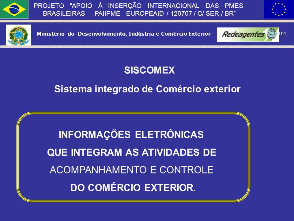 Ministério do Desenvolvimento, Indústria e Comércio Exterior 100 PROJETO APOIO À INSERÇÃO INTERNACIONAL DAS PMES BRASILEIRAS PAIIPME EUROPEAID / 12070