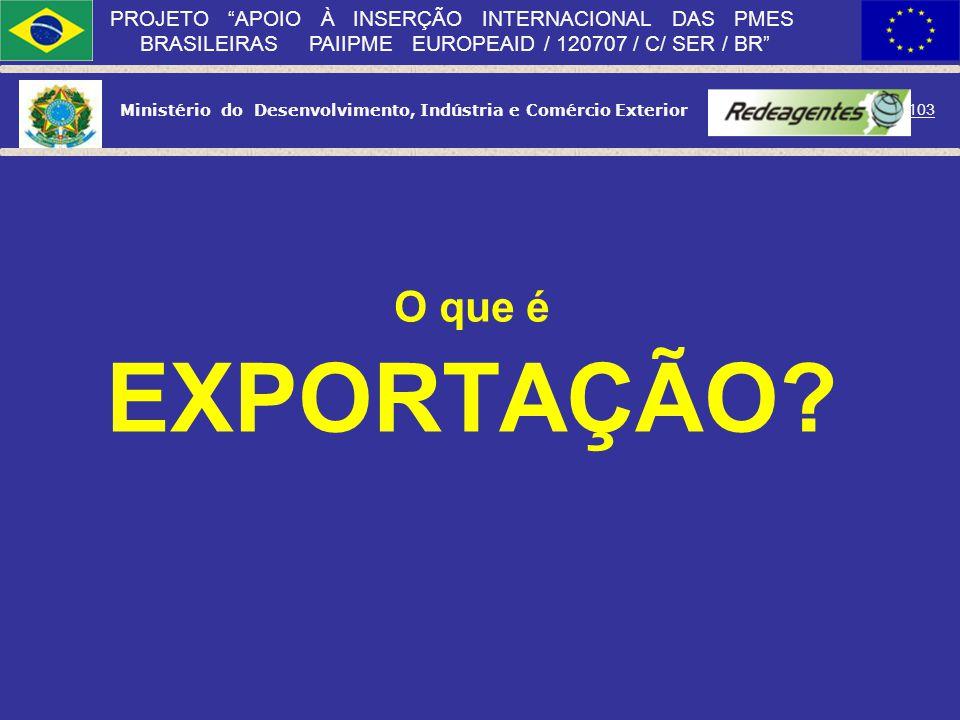 Ministério do Desenvolvimento, Indústria e Comércio Exterior 102 PROJETO APOIO À INSERÇÃO INTERNACIONAL DAS PMES BRASILEIRAS PAIIPME EUROPEAID / 12070