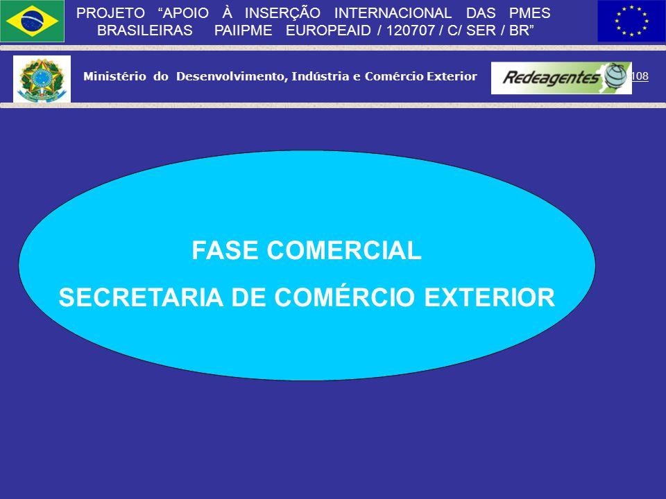 Ministério do Desenvolvimento, Indústria e Comércio Exterior 107 PROJETO APOIO À INSERÇÃO INTERNACIONAL DAS PMES BRASILEIRAS PAIIPME EUROPEAID / 12070