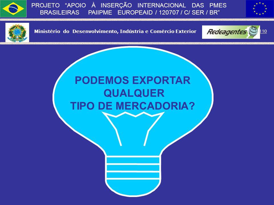 Ministério do Desenvolvimento, Indústria e Comércio Exterior 109 PROJETO APOIO À INSERÇÃO INTERNACIONAL DAS PMES BRASILEIRAS PAIIPME EUROPEAID / 12070