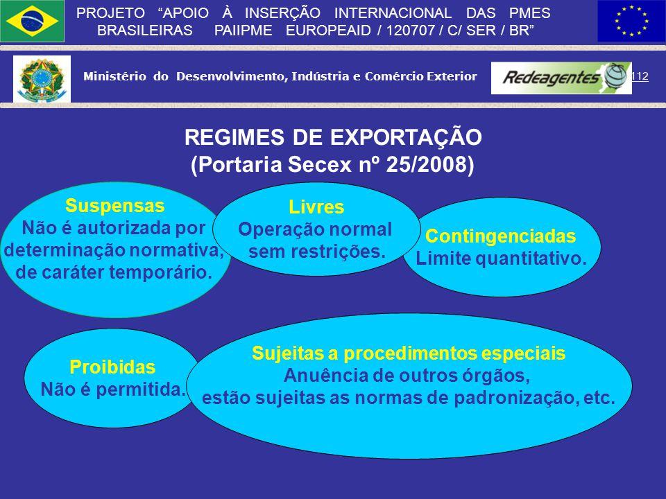 Ministério do Desenvolvimento, Indústria e Comércio Exterior 111 PROJETO APOIO À INSERÇÃO INTERNACIONAL DAS PMES BRASILEIRAS PAIIPME EUROPEAID / 12070