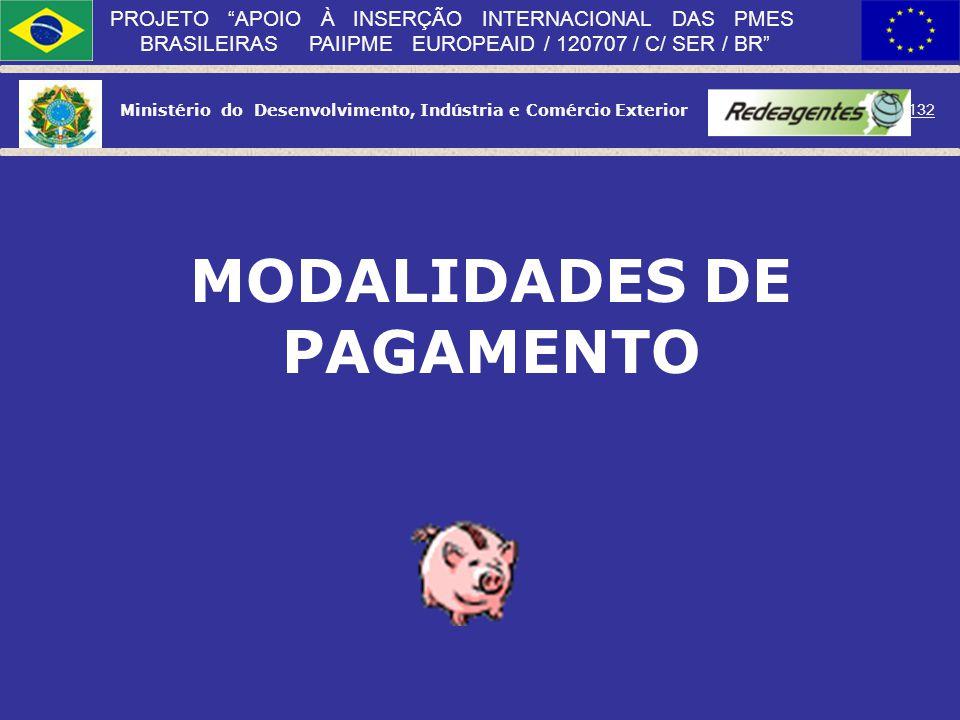 Ministério do Desenvolvimento, Indústria e Comércio Exterior 131 PROJETO APOIO À INSERÇÃO INTERNACIONAL DAS PMES BRASILEIRAS PAIIPME EUROPEAID / 12070