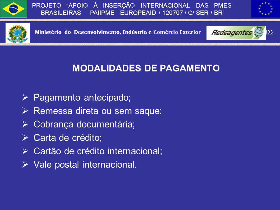 Ministério do Desenvolvimento, Indústria e Comércio Exterior 132 PROJETO APOIO À INSERÇÃO INTERNACIONAL DAS PMES BRASILEIRAS PAIIPME EUROPEAID / 12070