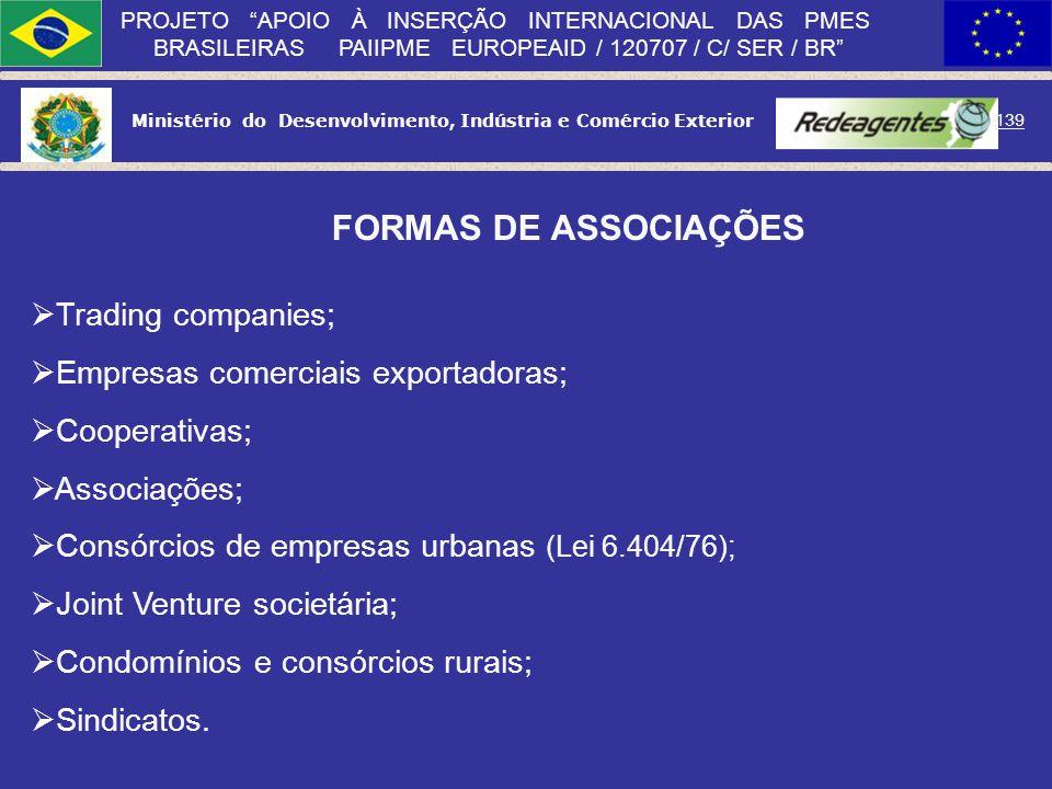 Ministério do Desenvolvimento, Indústria e Comércio Exterior 138 PROJETO APOIO À INSERÇÃO INTERNACIONAL DAS PMES BRASILEIRAS PAIIPME EUROPEAID / 12070