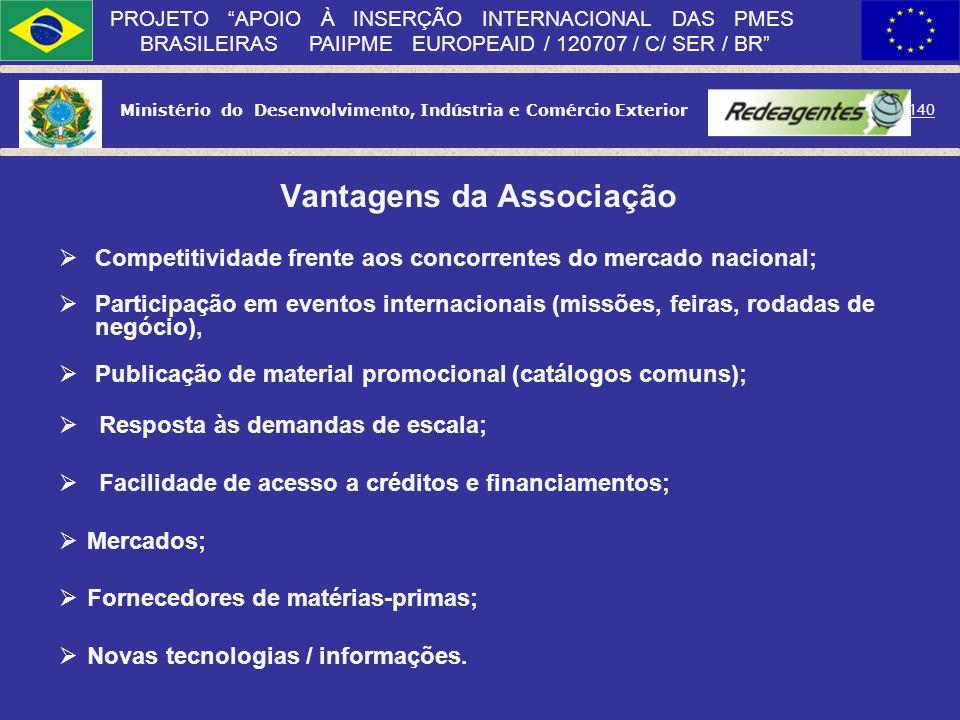 Ministério do Desenvolvimento, Indústria e Comércio Exterior 139 PROJETO APOIO À INSERÇÃO INTERNACIONAL DAS PMES BRASILEIRAS PAIIPME EUROPEAID / 12070